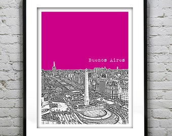 Presidents Day Sale 15% Off - Buenos Aires Argentina Skyline Poster Art Print Obelisco Version 5