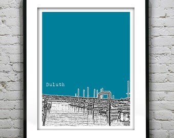 Duluth Minnesota Poster Art Skyline Print MN