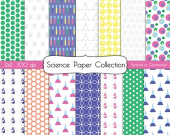 Science Collection Digital Scrapbook Paper Instant Download