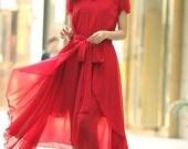 Women's Chiffon Maxi Dress Short Sleeve Bohemian Long Dress Red Party Wedding Dress Prom Dress- WH148,S,M,L,XL