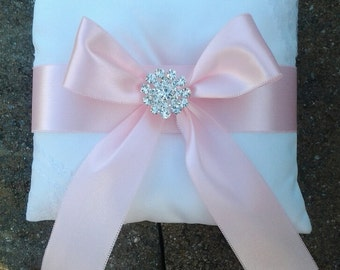 pink  satin wedding flower girl ring bearer pillow with rhinestones
