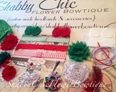 Christmas Headband Kit Create 5 Headbands 2 Clips 1 Hat Chevron Red Green Holiday Baby Shower Shabby Chic Flower DIY Headband Kit Craft Bow - ShabbyFlowerBowtique