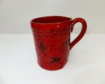 Red Skulls and Crossbones Ceramic Coffee Mug, Handmade Stoneware Pottery, Wild Crow Farm Pottery