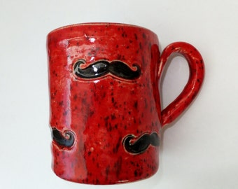 Red Speckle Mustache Coffee Mug, Handmade Ceramic Pottery