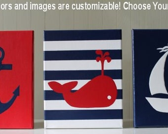 Nautical Nursery Decor Nautical Painting Anchor Whale Nursery Sailboat Nursery Red Navy Blue Acrylic Painting Nursery Decor