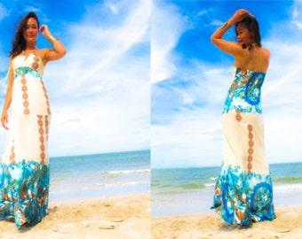 White Blue  halter  Beach evening long maxi Sun dress fits S M