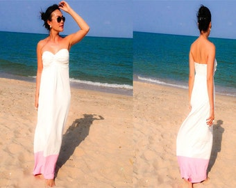color block White Pink long maxi dress sun evening all size