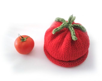 Instant download, Knitting PATTERN for baby tomato hat (PDF file), veggie hats