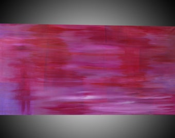 "Kiss Me:Original Abstract Acrylic Painting on canvas.  Size 24""x48"" Colors- Pinks, Red, White, Purples"