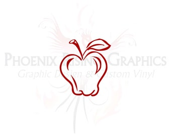 "Apple - Vinyl decal - 3""x4"""