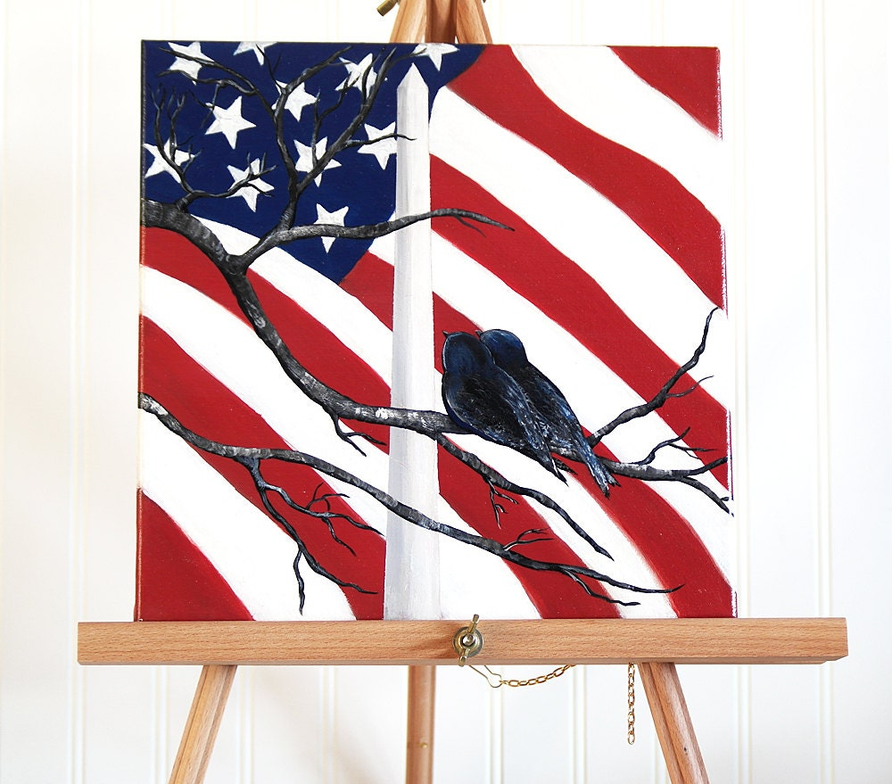 Flag decor original canvas painting patriotic wall decor for Painted american flag wall art