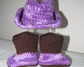 Purple Camo Hand Crocheted Baby Cowgirl Boots and Hat