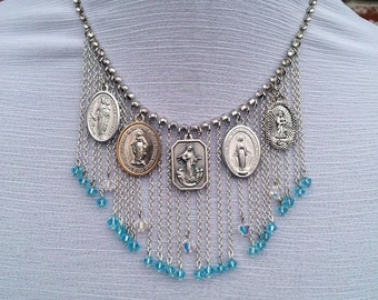 Something About Mary- Crystal & Chain Fringe Religious Medal Bib Necklace