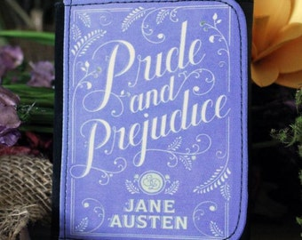 Jane Austen Pride & Prejudice Trifold Wallet Clutch Bag Gift Book Cover Quote Lilac