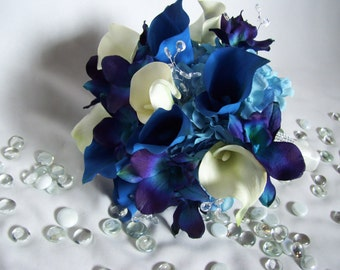 Amber's Bridal Bouquet with Royal Blue and White calla lilies,Medium Blue Hydrangeas,Blue Violet CA orchids, Crystals