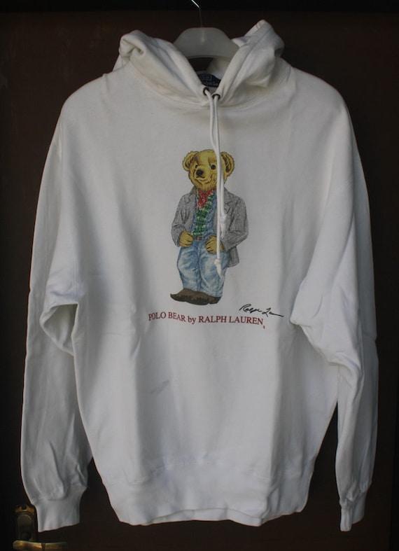 vintage polo bear by ralph lauren hoodie sweatshirt. Black Bedroom Furniture Sets. Home Design Ideas