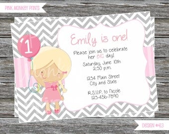DIY - Balloon Girl Birthday Party Invitation #413- Coordinating Items Available