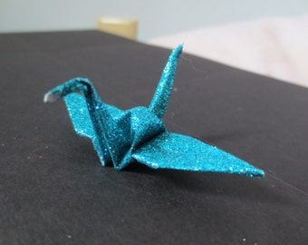 Small Sparkle Glitter Turquoise Blue Origami Paper Cranes - 100
