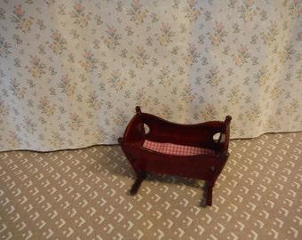 1:12 scale Dollhouse miniature Mahogany Cradle