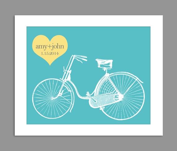 Personalised Wedding Gifts Vintage : Digital Download Personalized Wedding Gift Vintage Bike Heart Left ...