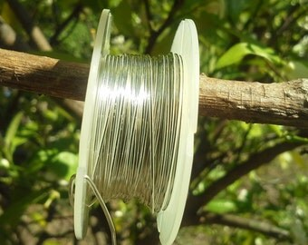 """24ga sterling silver round wire,  3 feet, dead-soft, """"green"""" recycled silver, 3'"""