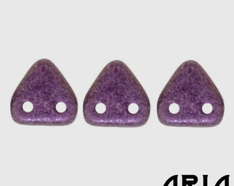 METALLIC SUEDE PINK: 6mm Two-Hole Czech Glass Triangle Beads (10 grams)