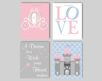 Princess Nursery Decor for Girls Room Princess Wall Art Castle Print A  Dream is a Wish Print Fairy Princess Prints Choose Colors PR05