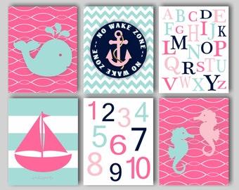 Baby Girl Nursery Art Nautical Nursery Print for Girls Nautical Nursery Bedding Decor Sailboat Print Anchor Print Choose Colors NN1551