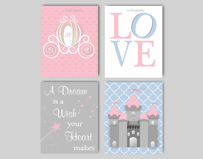 Princess nursery decor for girls room princess wall art castle for Girls wall art