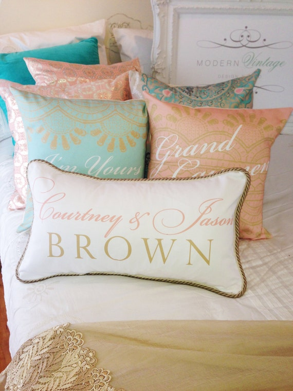Mint & coral personalized pillows