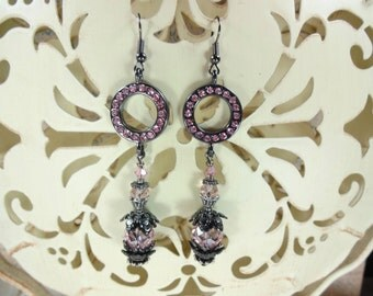 Earrings Pink and Gunmetal Crystal