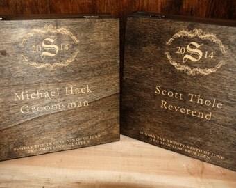 7 engraved cigar boxes Groomsmen Gifts Dark Walnut Stain, Custom Wooden Cigar Box - Custom Name Engraved - Wedding Favor