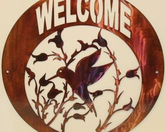 Hummingbird Welcome Sign Metal Wall Art Home Decor