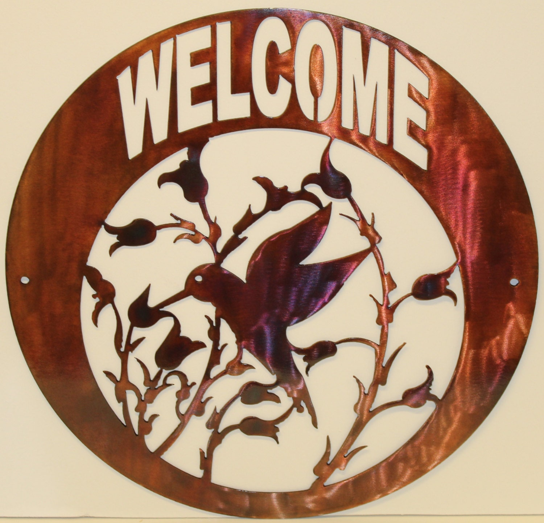Hummingbird Welcome Sign Metal Wall Art Home Decor Copper
