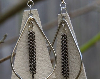 Silver teardrop earrings with cream leather and antique vintage silver chain