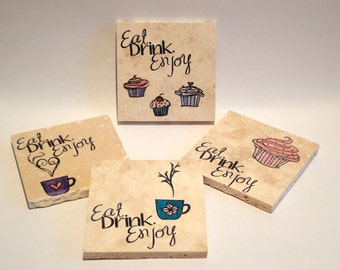 Eat Drink Enjoy coasters - set of 4 (ready to ship)
