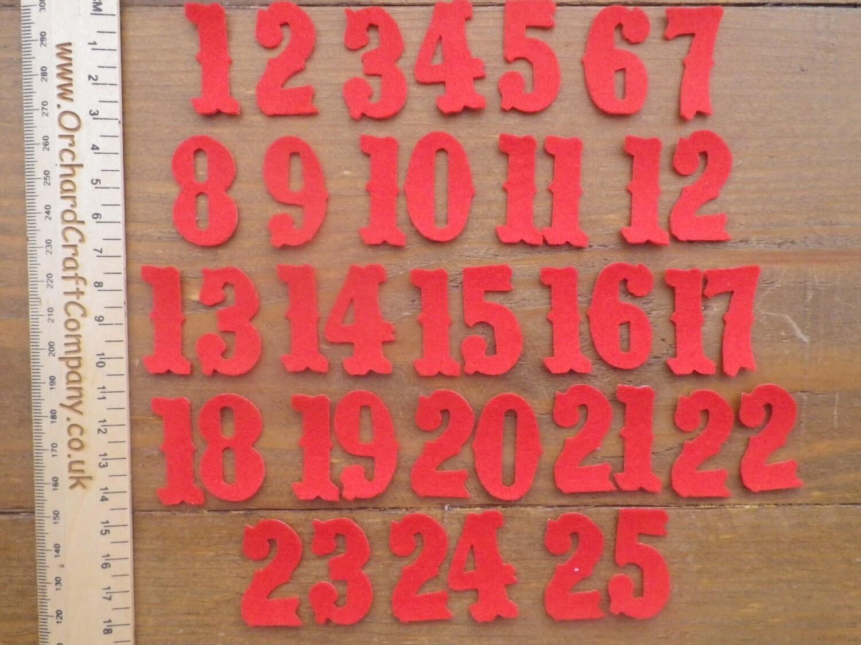 Christmas Advent Calendar Self Adhesive Felt Numbers 1-25
