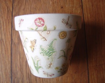 Hand Painted and Decoupaged Decorative Flower Pots ( Botanical Study 1 )