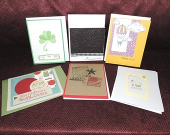 Set of 6 Handcrafted Blank Greeting Cards Note Cards
