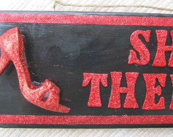 Red Glitter High Heel with Purse Shop Therapy Handmade Wood Sign
