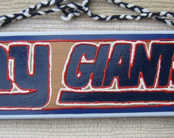 NY Giants Football Hand Painted Wood Sports Sign for Man Cave, Den or for any Sports Fan