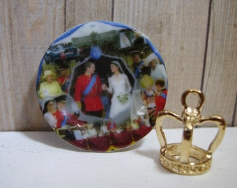 Prince William and  Kate wedding  Miniature Plate for Dollhouse 1:12 scale