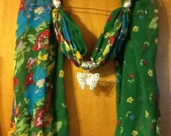 Green floral print scarf with butterfly slider beads