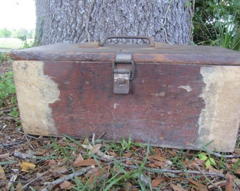 Vintage wood box, industrial box, work box, hand made toolbox, latched box