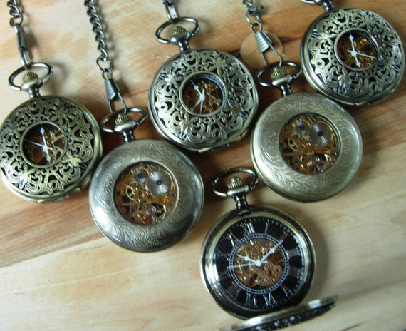Watch As Wedding Gift: Set Of Six Groomsmen Gift Pocket Watches By