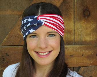 Fourth of July Headband, Patriotic Turban Headband, American Flag Headband, Marathon Turband, Red, White and Blue Headband, Sport Headband