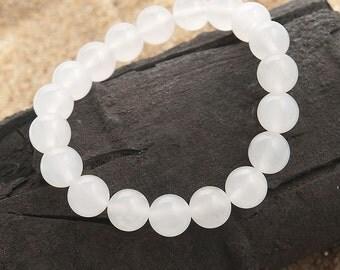stretch beaded bracelet white jade 10mm | elastic beaded semi precious stone