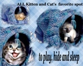 Crochet Cat Toy Play Tunnel Pattern, Expandable, Collapsable, Leftover Yarn project makes happy pets. Cat pillow and hideout