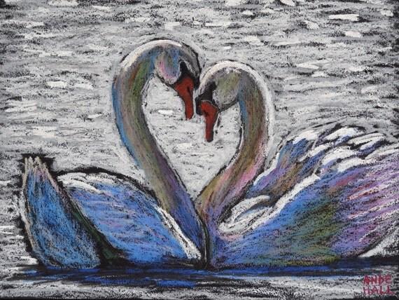 9x12 original swan painting oil pastels swan