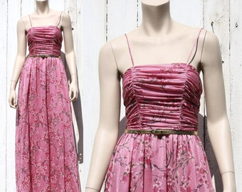 70s Cherry Blossom Festival sheer ruched maxi dress - xs or small